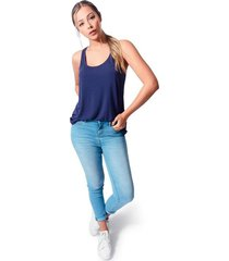 blusa cuello redondo tela viscosa para mujer color siete - azul