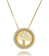 colar drusi semi joias medalha arvore da vida dourada