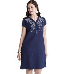 vestido con bordado azul lorenzo di pontti