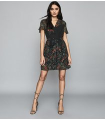 reiss sadie - floral printed mini dress in black print, womens, size 14