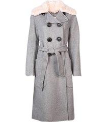 coach luxury wool trench coat - grey
