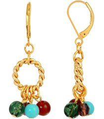 2028 women's 14k gold dipped hoop multi color drop beads earring