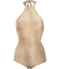 adriana degreas velvet swimsuit - neutrals