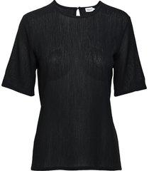 mesh tee t-shirts & tops short-sleeved zwart filippa k