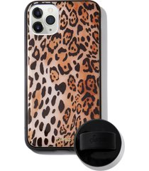 sonix watercolor leopard iphone 11 pro max case & slide silicone phone ring - brown