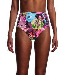 skinny dippers women's high-waisted flower shop bikini bottom - black - size xl