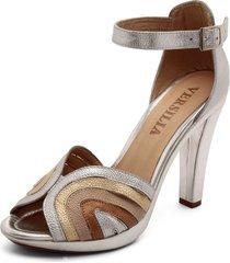 sandalia alta cuero plata multicolor versilia guim