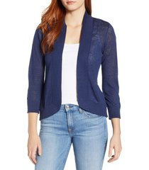 tommy bahama lea linen cardigan, size large in island navy at nordstrom