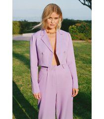 womens all worked out tailored cropped blazer - lilac