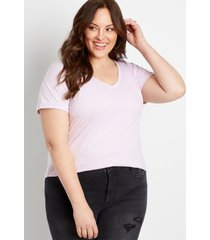 maurices plus size womens 24/7 solid drop shoulder classic tee purple