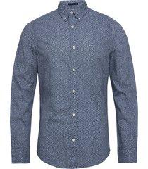 d1. micro floral print slim bd overhemd casual blauw gant