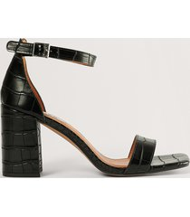 na-kd shoes sandal med blockklack - black