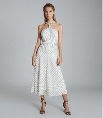 reiss bea - striped halterneck midi dress in white/green, womens, size 14
