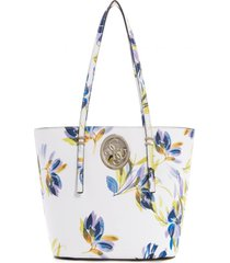 cartera open road small tote blanco guess