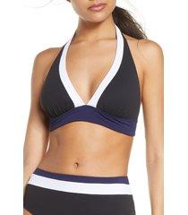 women's tommy bahama colorblock halter swim top, size x-large - black