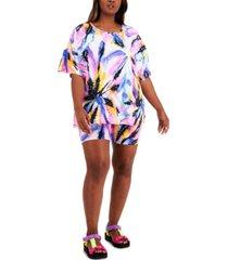 full circle trends plus trendy t-shirt & bike shorts set