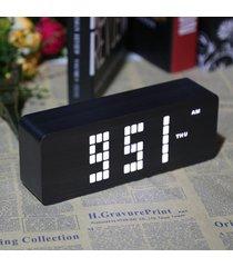 reloj digital/despertador/ alarma led madera, control voz-