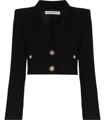 alessandra rich v-neck cropped jacket - black