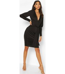 tall strakke geplooide mini jurk met shirt mouwen, black
