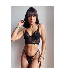 conjunto lingerie cropped mdmix rendado com aro preto