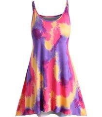 plus size tie dye braided strap tank dress