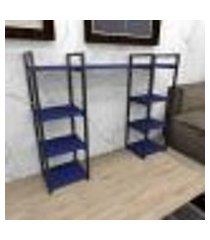 aparador industrial aço cor preto 120x30x98cm (c)x(l)x(a) cor mdf azul modelo ind52azapr