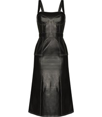 alexander mcqueen square-neck leather midi dress - black