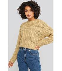 na-kd trend heavy knitted wide rib sweater - beige