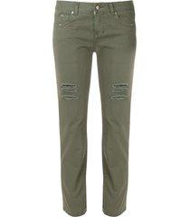 aspesi distressed cropped trousers - green