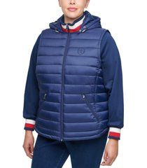 tommy hilfiger plus size quilted hooded zip-up jacket