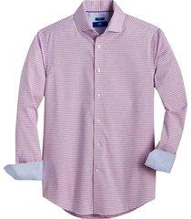 egara men's pink check slim fit sport shirt - size: large