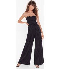womens unfinished business pinstripe wide-leg pants - black