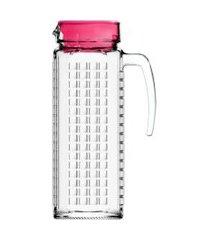 jarra de vidro sture móveis ladrilhos com tampa rosa para suco 1,2 litros