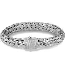 women's john hardy classic chain bracelet with pave diamonds