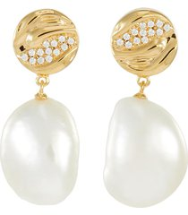 payo' pearl cubic zirconia gold plate drop earrings