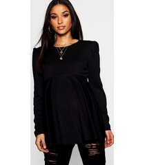 maternity gathered sleeve peplum top, black
