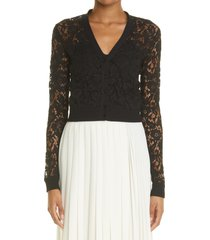 valentino crop guipure floral lace cardigan, size x-small in 0no nero at nordstrom
