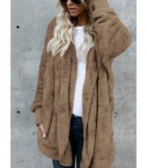 abrigo de peluche con capucha y frente abierto