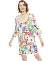 vestido desigual multicolor - calce holgado