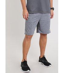 bermuda masculina esportiva ace com bolso cinza mescla escuro