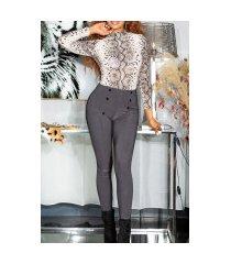 sexy hoge taille broek/leggings met decoratieve knopen grijs