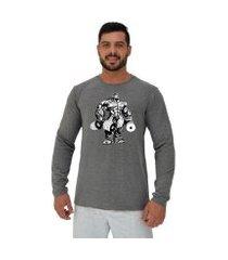 camiseta manga longa moletinho mxd conceito bodybuilding com halteres
