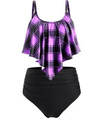 plus size plaid flounce high waisted tankini swimwear