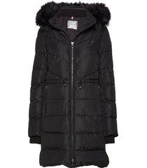 alana padded coat gevoerde lange jas zwart tommy hilfiger