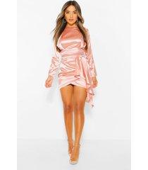 petite gedrapeerde satijnen bodycon jurk met hoge kraag, light pink