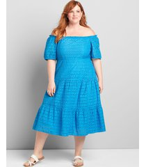 lane bryant women's convertible off-the-shoulder tiered midi dress 22p french blue