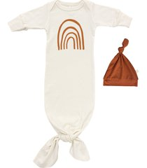 infant girl's tenth & pine rainbow organic cotton tie gown & hat set