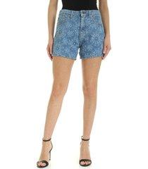 love moschino flower denim shorts