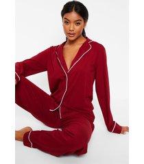 jersey pyjama set met lange mouwen en knopen, berry