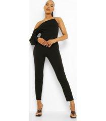 asymmetrische jumpsuit met pofmouwen, black